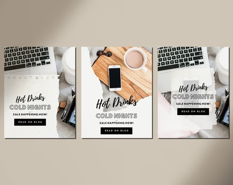 30 Canva Pinterest Templates - Wintery Ripped Paper Theme