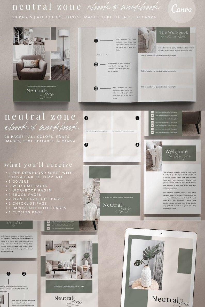 20-Page eBook Workbook Checklist Canva Template - NEUTRAL ZONE 20-Page