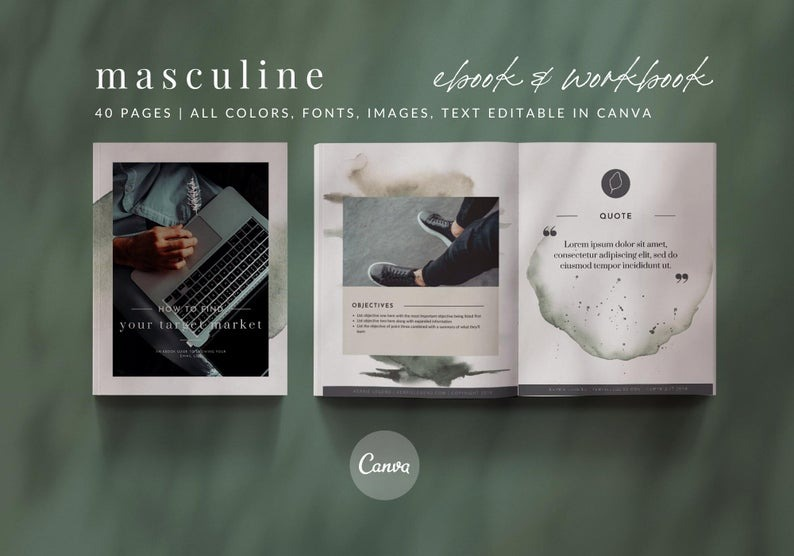40-Page Masculine Woodsy eBook & Workbook Canva Template Design Plus Bonus 10 Pinterest and 10 Insta