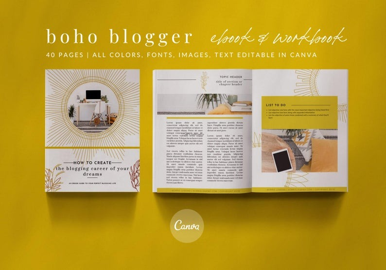 40-Page eBook & Workbook Canva Template Boho Blogger Design