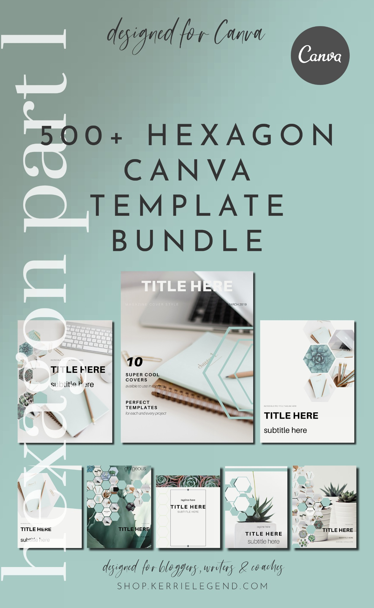 500+ Canva Template Bundle - Hexagon Part 1