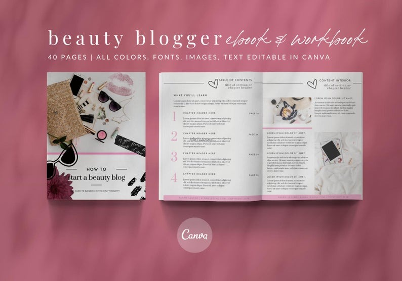eBook & Workbook Canva Template Beauty Blogger Design