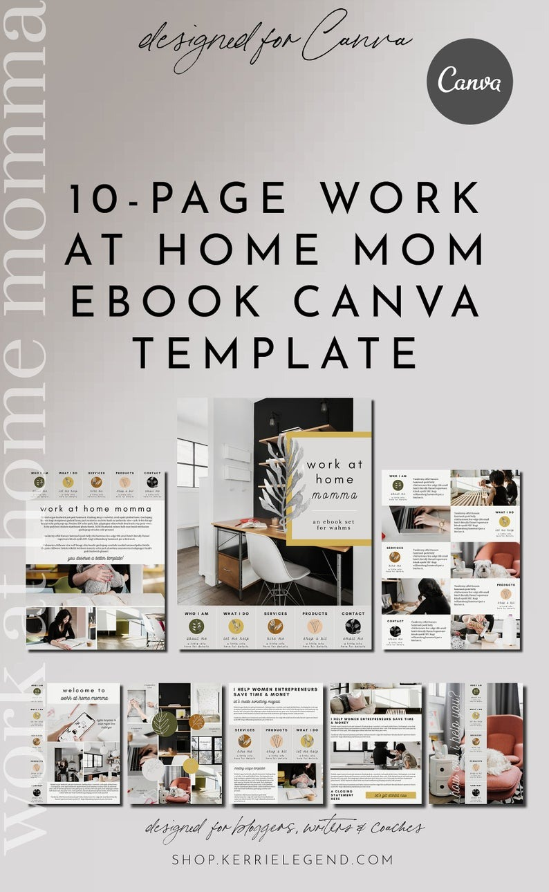 10-Page Canva Template - WORK at HOME MOMMA - About, Welcome, Details, Services, Products, Contact