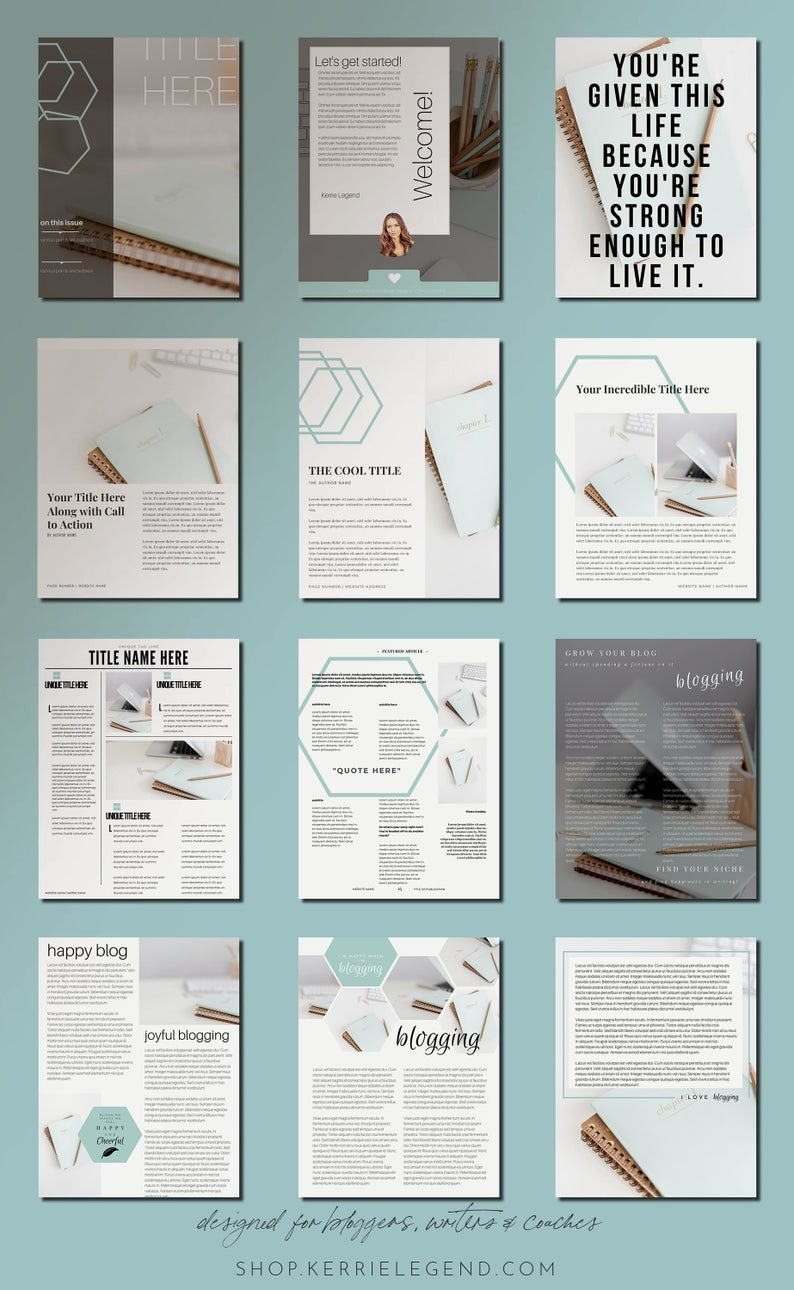 40-Page eBook & Workbook Canva Template for Bloggers, Writers and Coaches