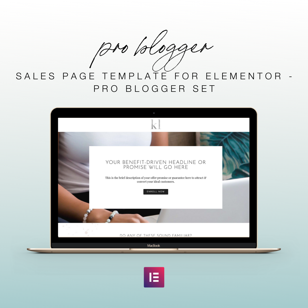 Sales Page Template for Elementor - Pro Blogger Set | Landing Page for Elementor | Sales Page