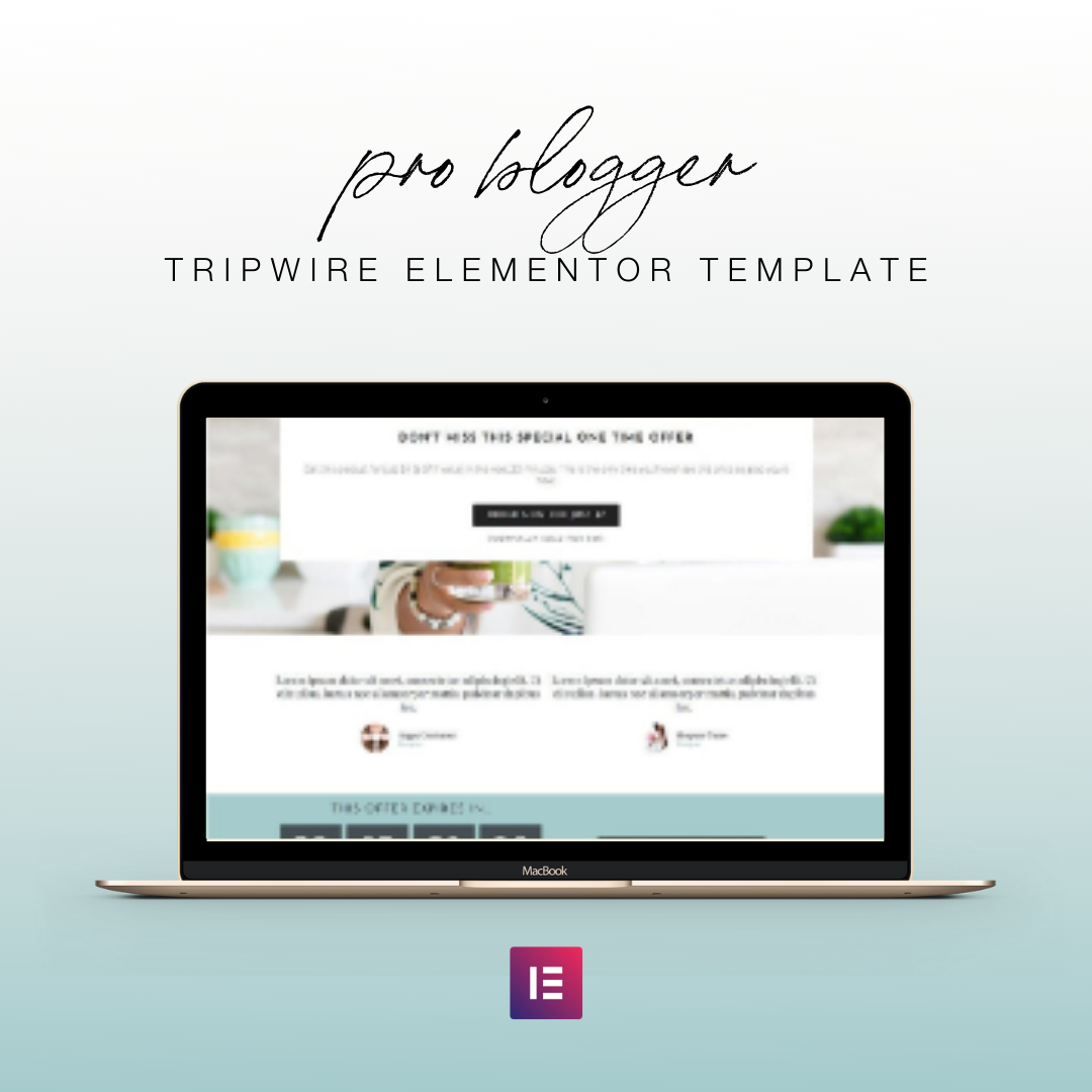Tripwire Elementor Template - Pro Blogger Tripwire Offer Template | Landing Page for Elementor