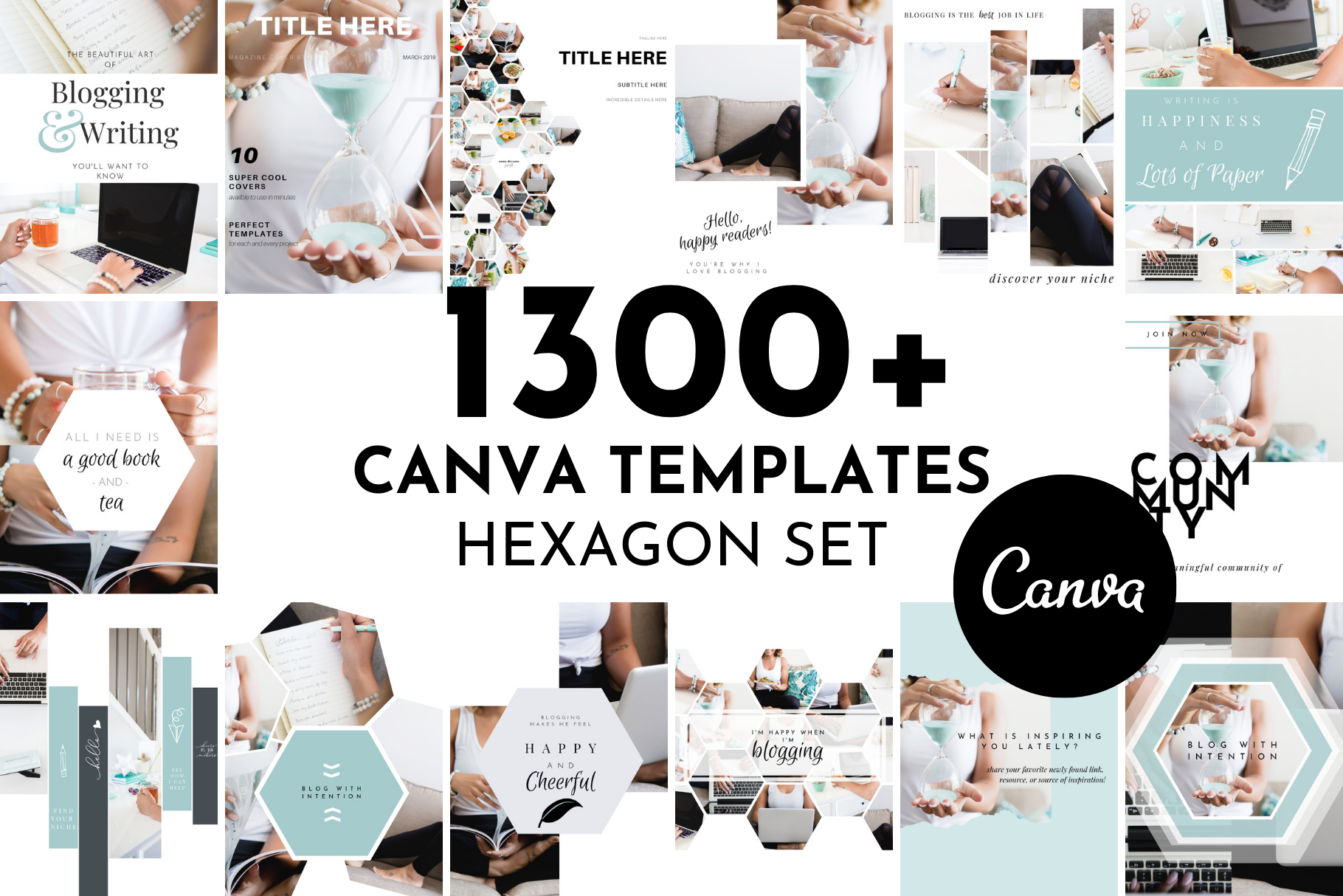 Lead Magnet & Content Upgrade Bundle for Canva - Hexagon Set - Designed for Writers and Bloggers - B