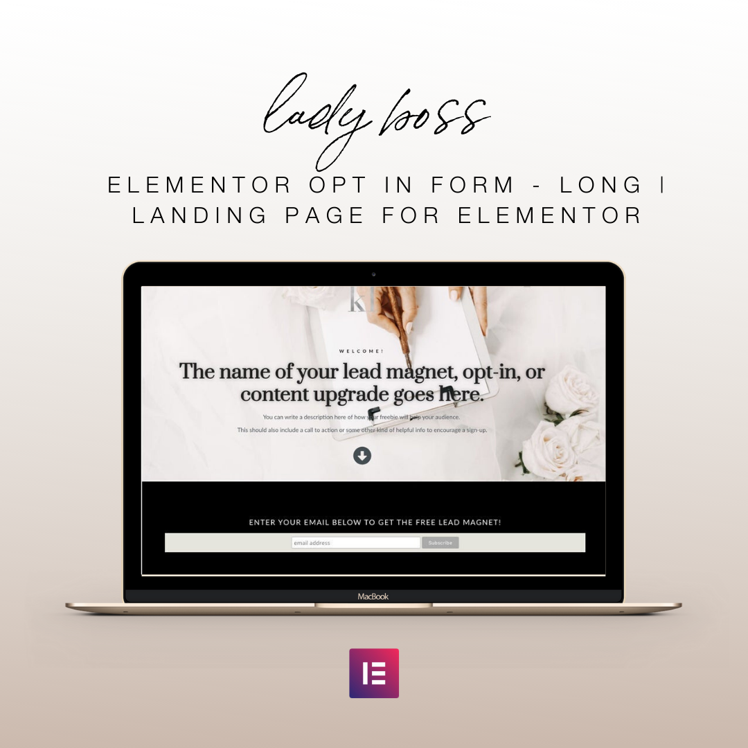 Lady Boss Elementor Opt In Form - Long | Landing Page for Elementor