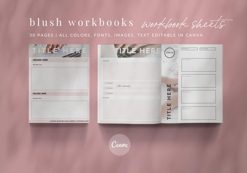 30 Blush Canva Workbook Templates