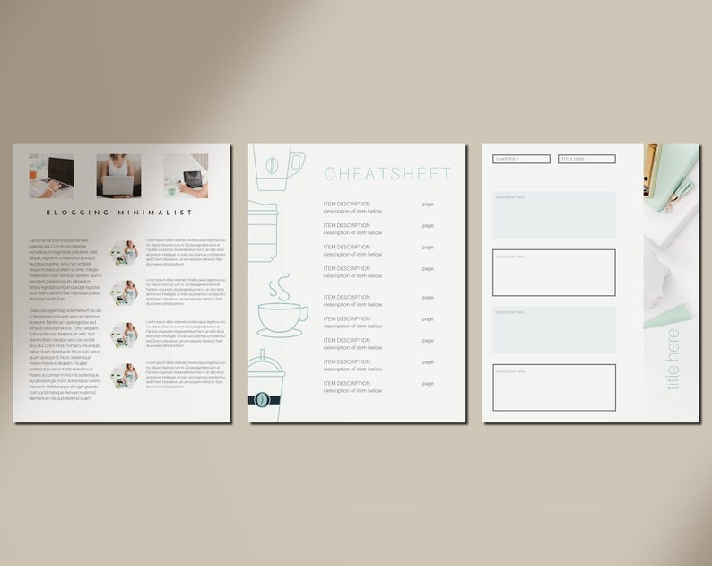 Turquoise eBook and Workbook Lead Magnet Template for Canva Template - 20 page eBook Template