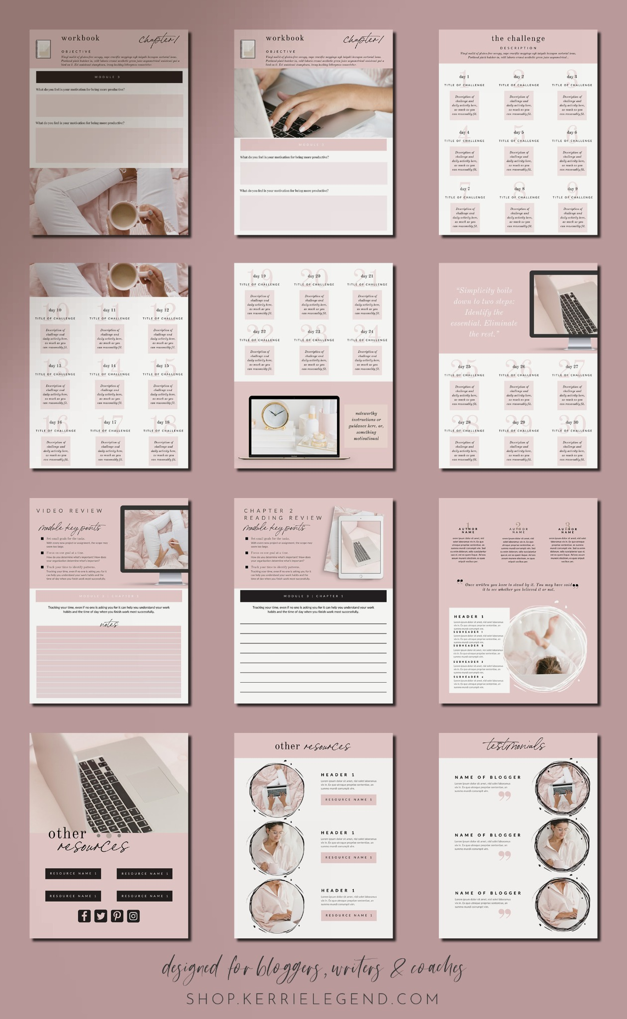 80-Page eBook & Workbook Canva Template for Bloggers, Writers, Coaches - Blush