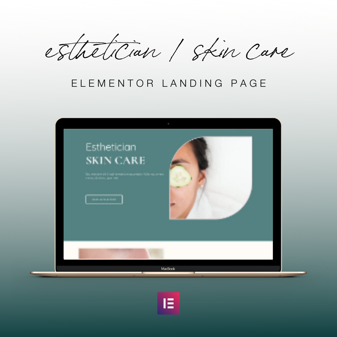 Esthetician Landing Page for Elementor Template - Skin Care Landing Page for Cosmetologists