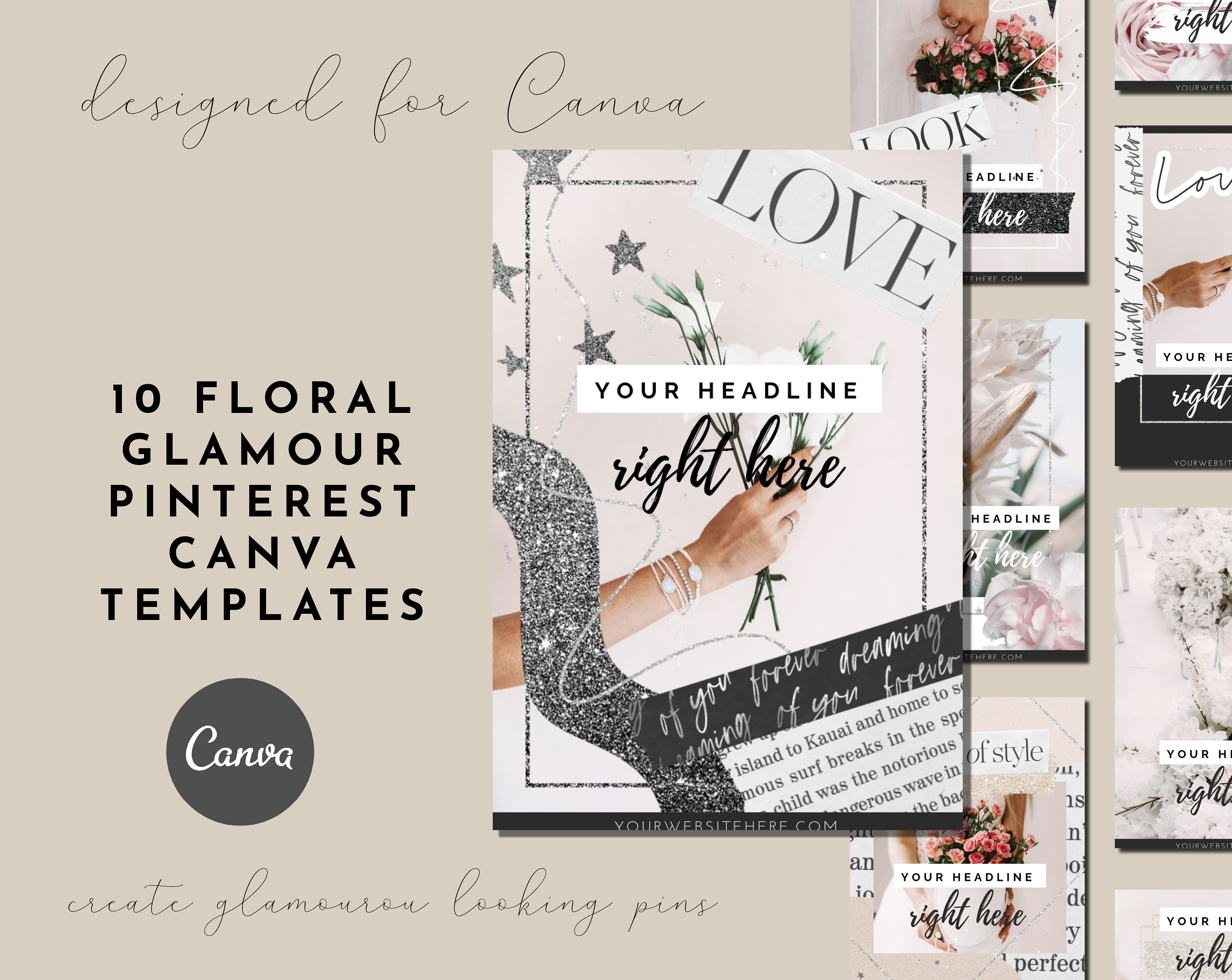 10 Floral Pink Glamour Pinterest Canva Templates