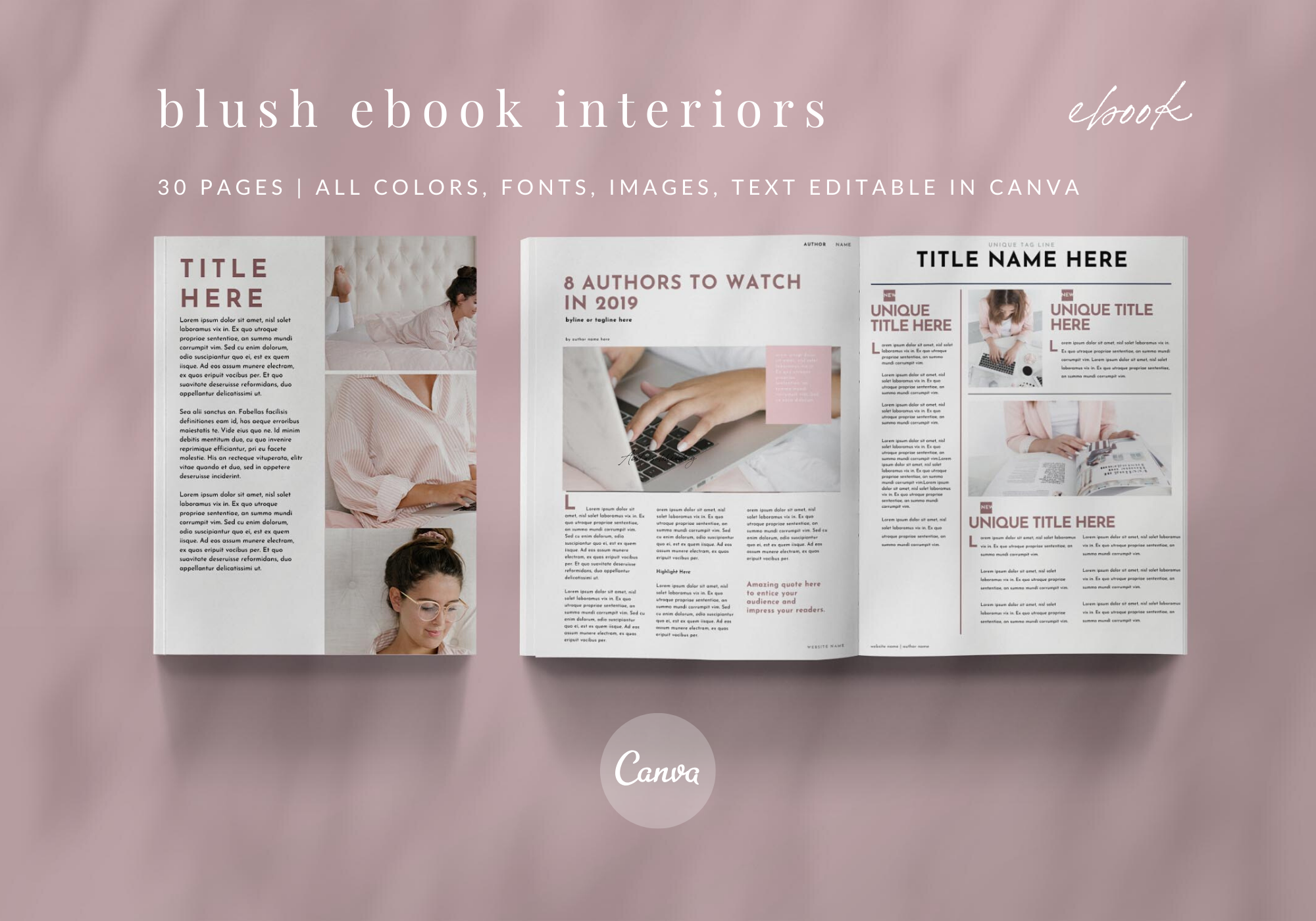 30 Blush Canva Template Magazine & eBook Interiors