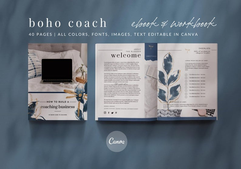 eBook & Workbook Coaching Canva Template Design - Boho Dragonfly