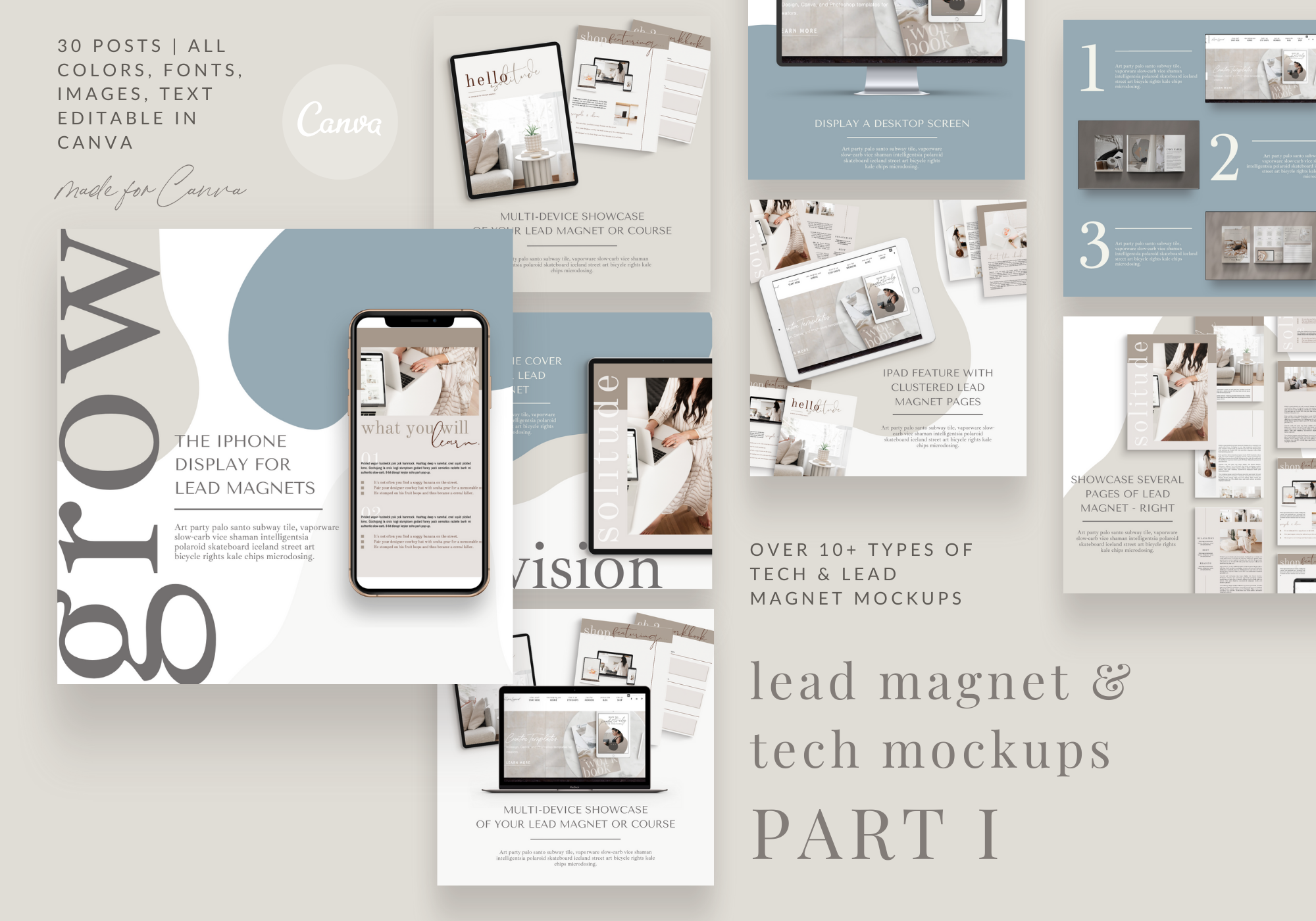 Lead Magnet Tech Mockups - PART 1 - Instagram Templates for Canva