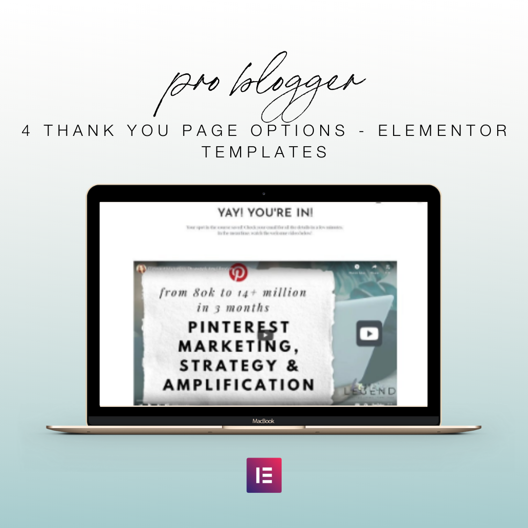4 Thank You Page Options - Elementor Templates | Landing Page for Elementor | Email Sign Up Form