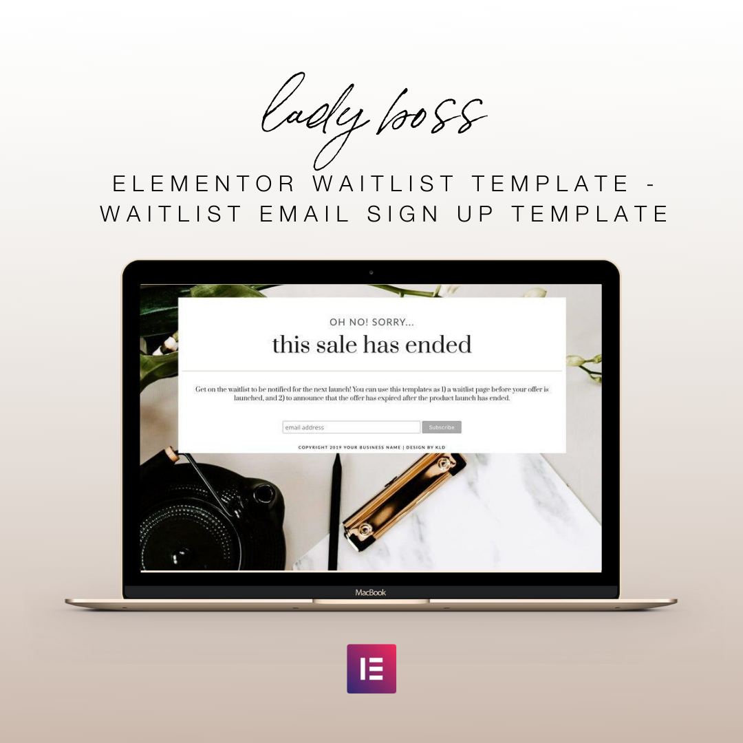 Lady Boss Elementor Waitlist Template - Waitlist Email Sign Up Template