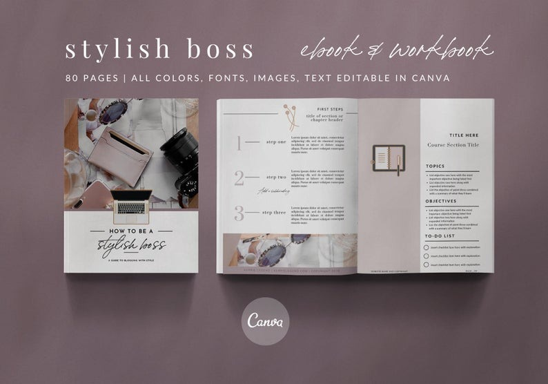 80-Page eBook Workbook Checklist Canva Template - STYLISH BOSS