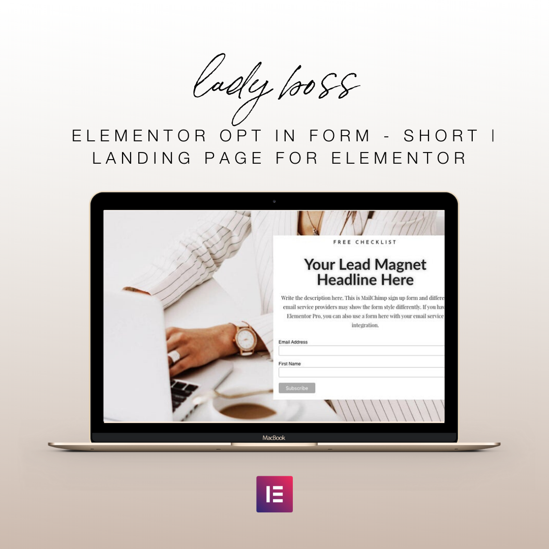 Lady Boss Elementor Opt In Form - Short | Landing Page for Elementor | Email Sign Up Form