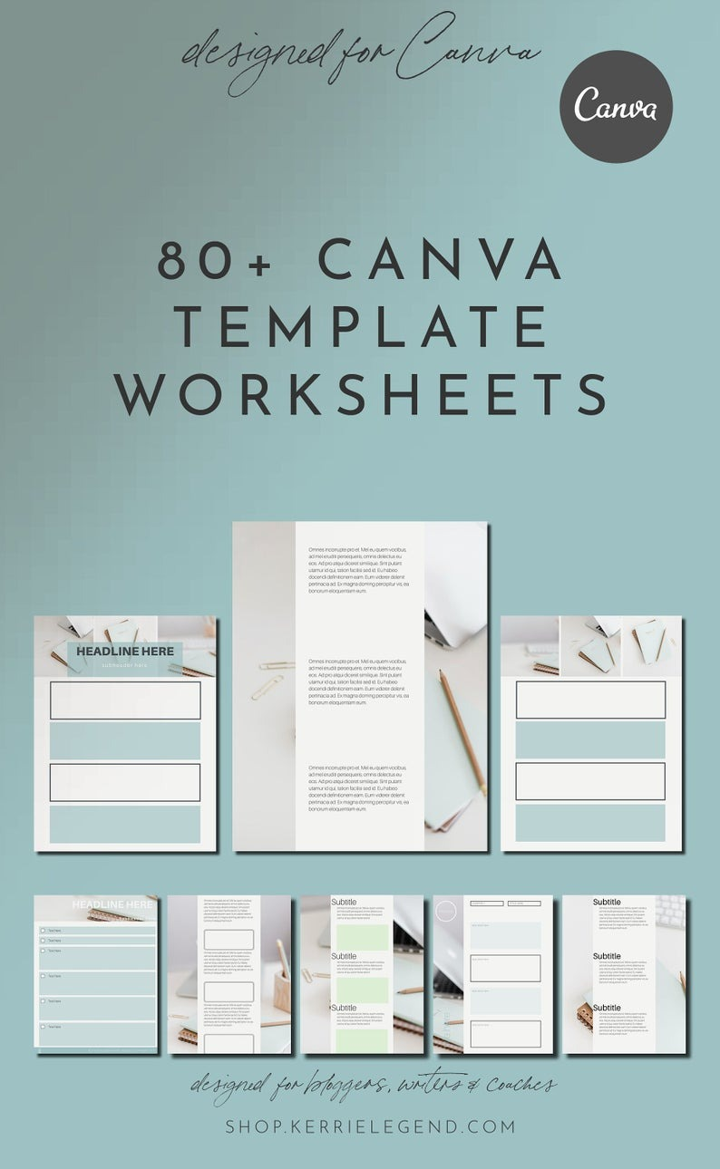 80 Canva Workbooks & Canva Worksheets | Canva Templates | Turquoise Templates