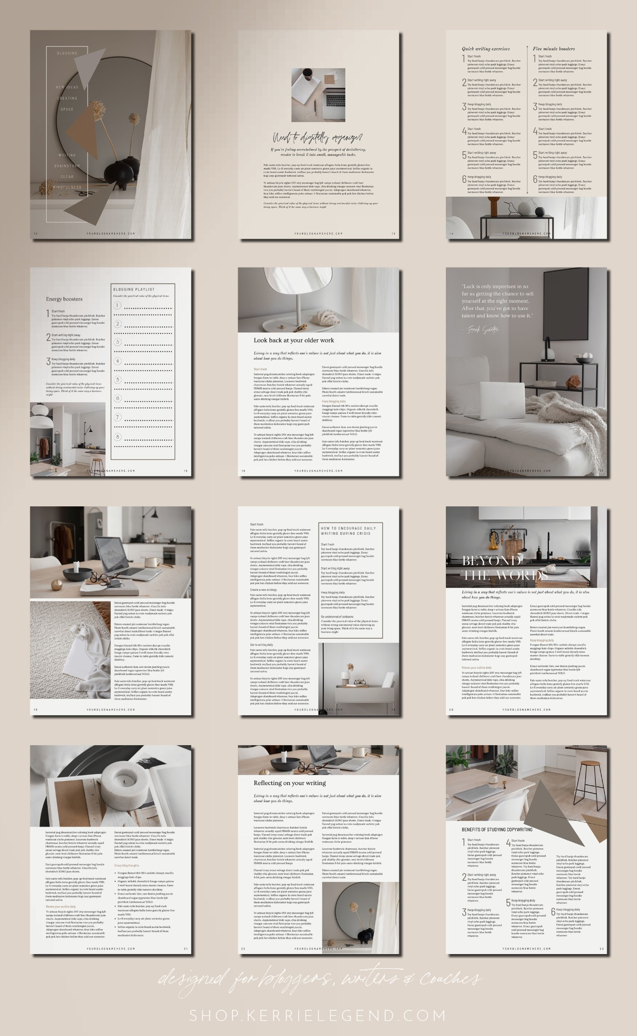 90-Page Canva Template - BREATHE MAGAZINE - Triangle Designed Minimal eBook Workbook for Bloggers