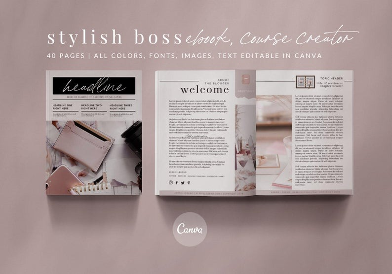40-Page eBook & Workbook Canva Template - STYLISH BOSS