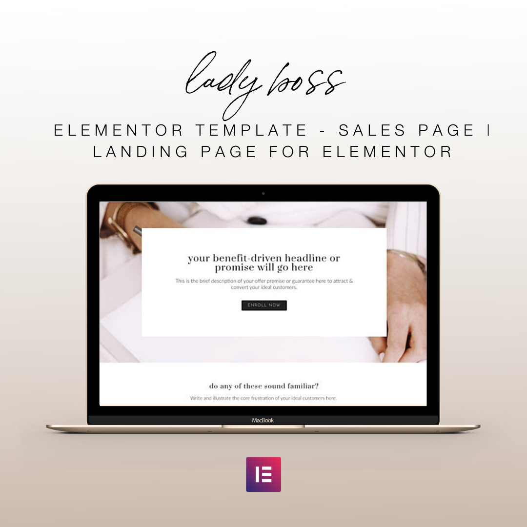 Lady Boss Elementor Template - Sales Page | Landing Page for Elementor