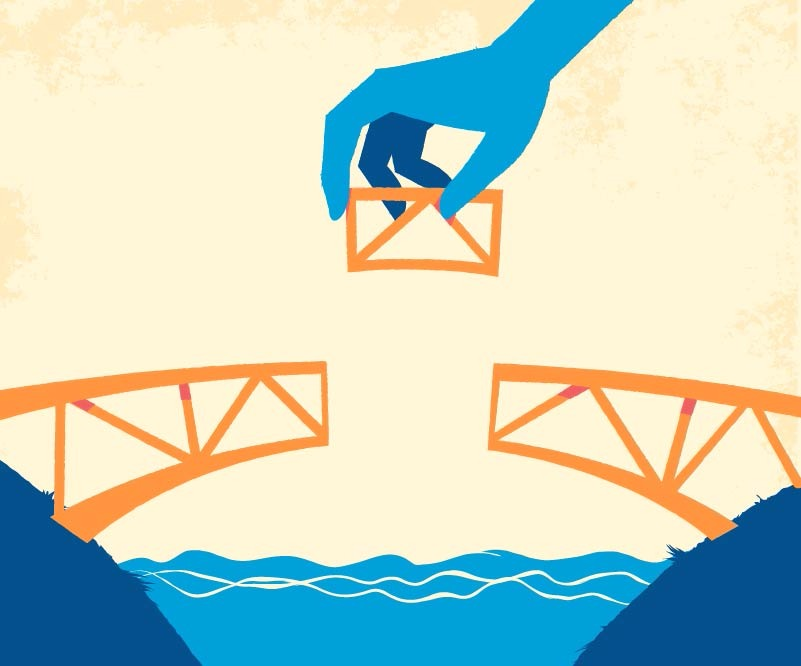 Building the Bridge Vector Art