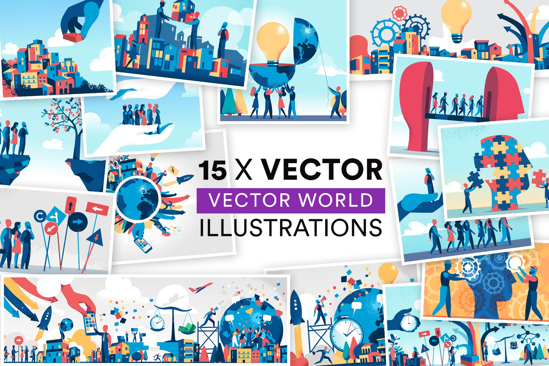Vector World Illustrations Bundle#1