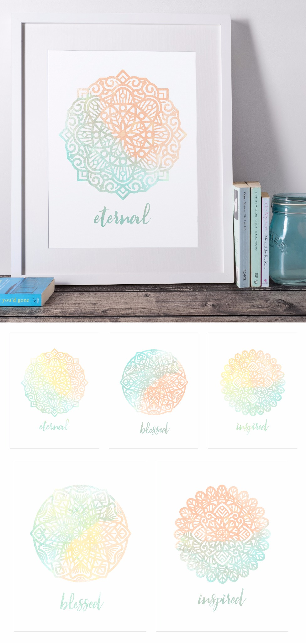 Watercolor Mandala Words Printables