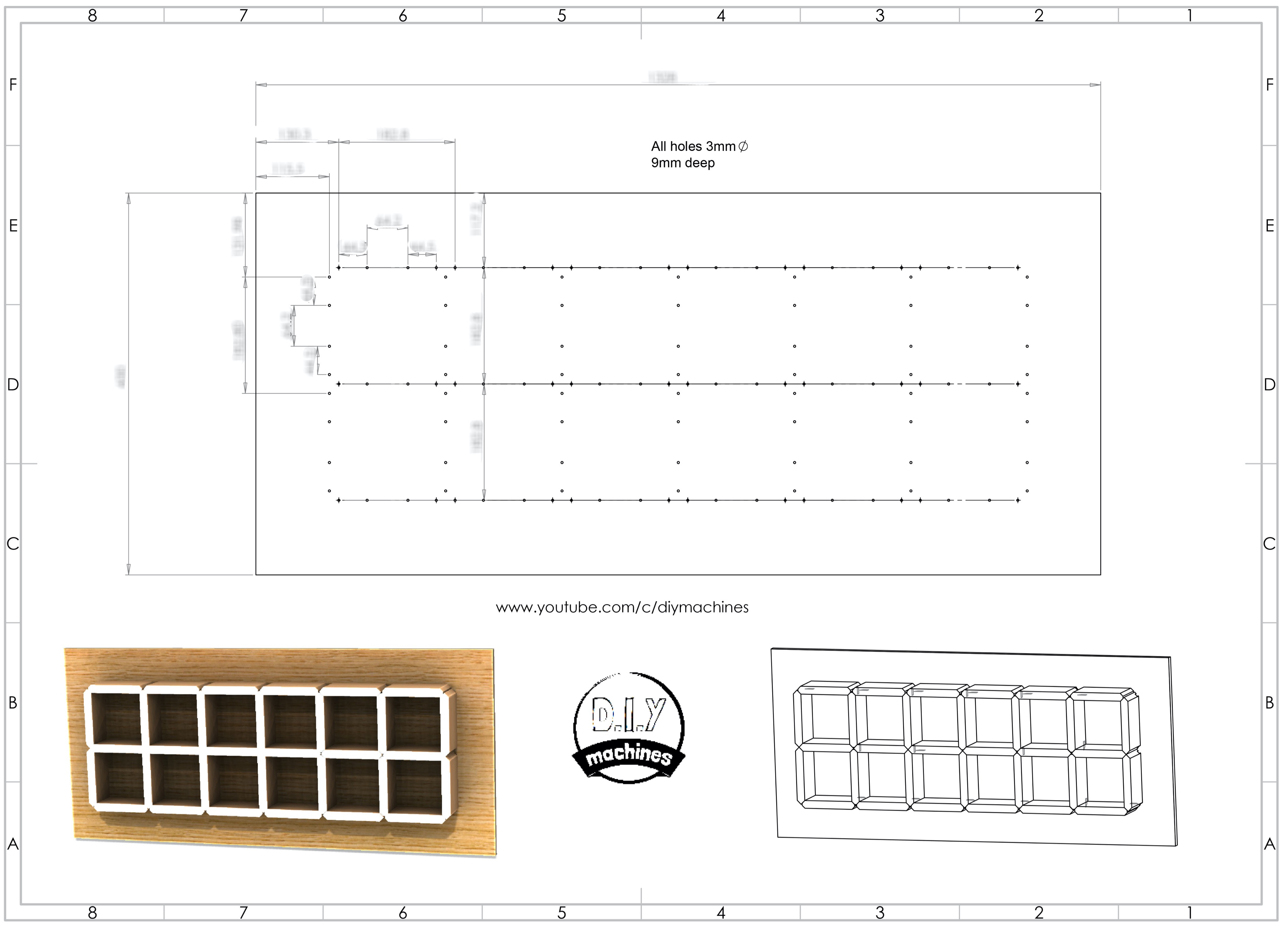 CAD Drawing for Giant Hidden Shelf Edge Wall Clock