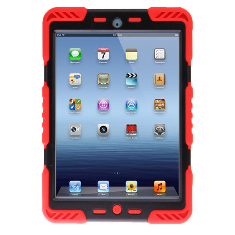iPad Mini Case With Dual Layer Silicone/Plastic Combination Case with Sticker (Red)