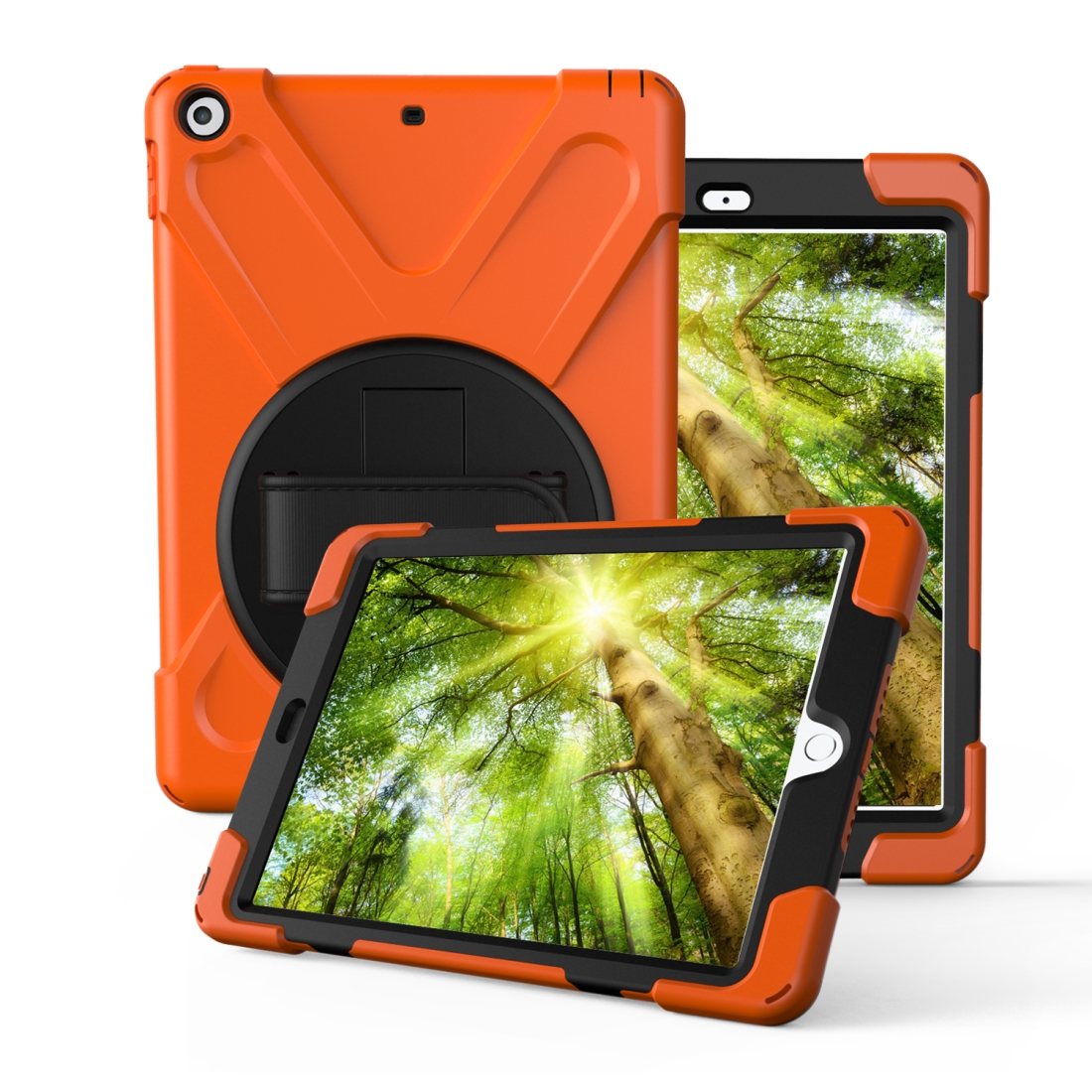 iPad Air 3 Case (10.5 Inch) Rotating Protective Case with Hand-strap (Orange)