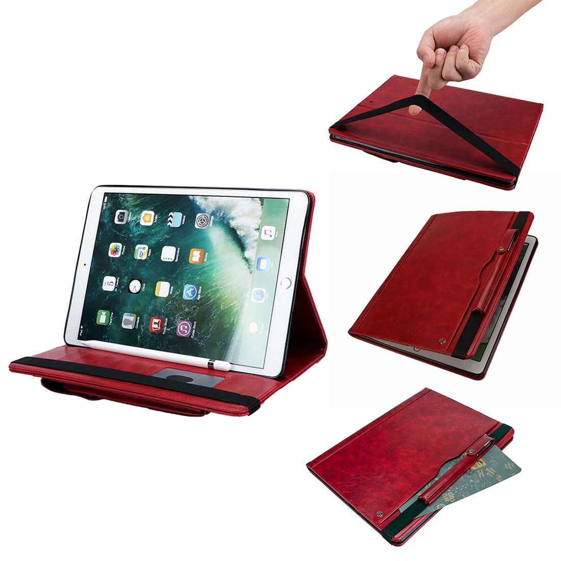 Leather iPad Pro 12.9 Inch Case (2015) (2017), Double Sleeves, Pen Holders, Slim Profile (Red)