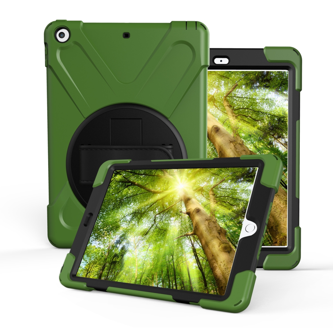 iPad Air 3 Case (10.5 Inch) Rotating PC/Silicone Protective Case w/Hand-strap (Army Green)