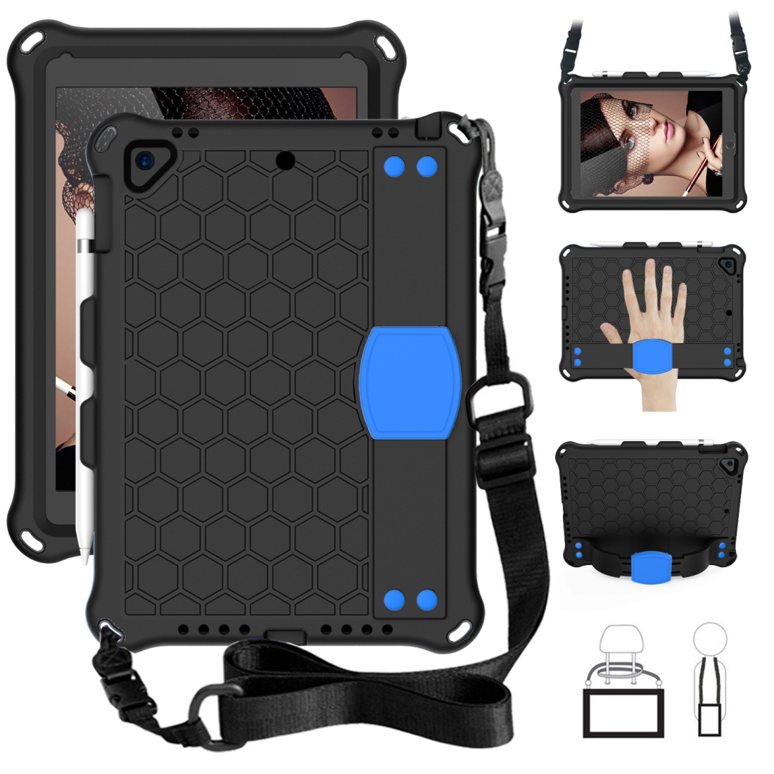 iPad 9.7 Case 2017/2018 Honeycomb Four Corner Protective Shell With Straps (Black/Blue)