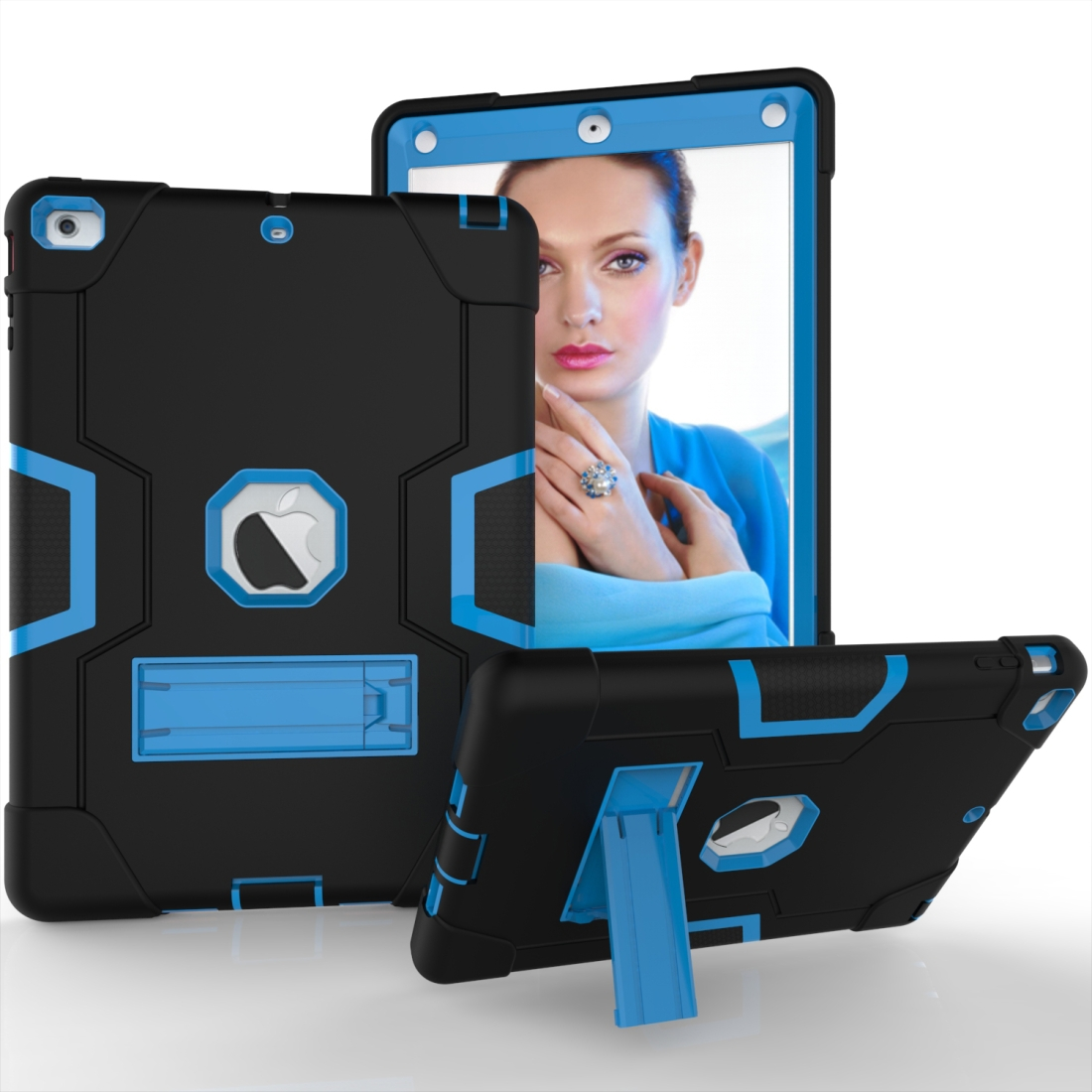 iPad Air Cover Featuring Contrasting Colors In A Tough Durable Protective Armor Case (Black/Blue)