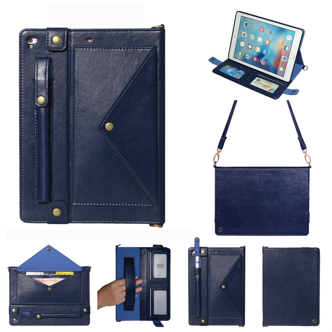 Leather iPad 9.7 Case (2018)/(2017), Air/ Air 2/ Pro 9.7 inch, Pen Holders & Strap (Blue)