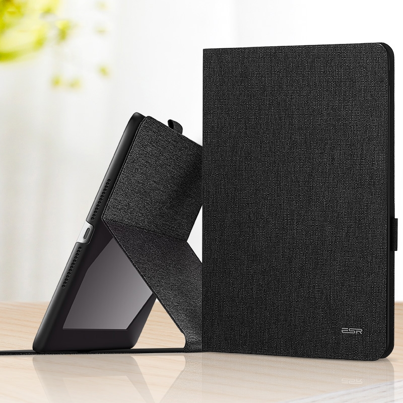 Leather iPad 9.7 Case (2017) (2018) With Pen Holder & Auto Sleep (Black)