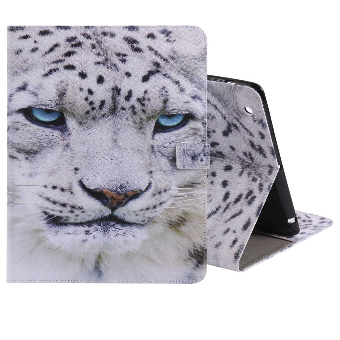 iPad 4 Case Featuring A Protective Durable Leather Cover, Slim Profile & Auto Sleep (White Panther)