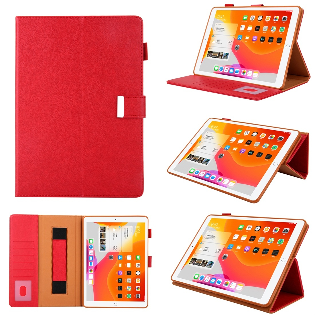 iPad 7th Generation Case Fits iPad 5/6/7/8/9, Features A Trendy Leather Design & Auto Sleep (Red)