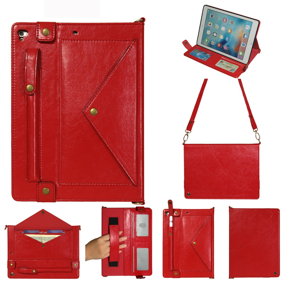Leather iPad 9.7 Case (2018)/(2017), Air/ Air 2/ Pro 9.7 inch, Pen Holders & Strap (Red)
