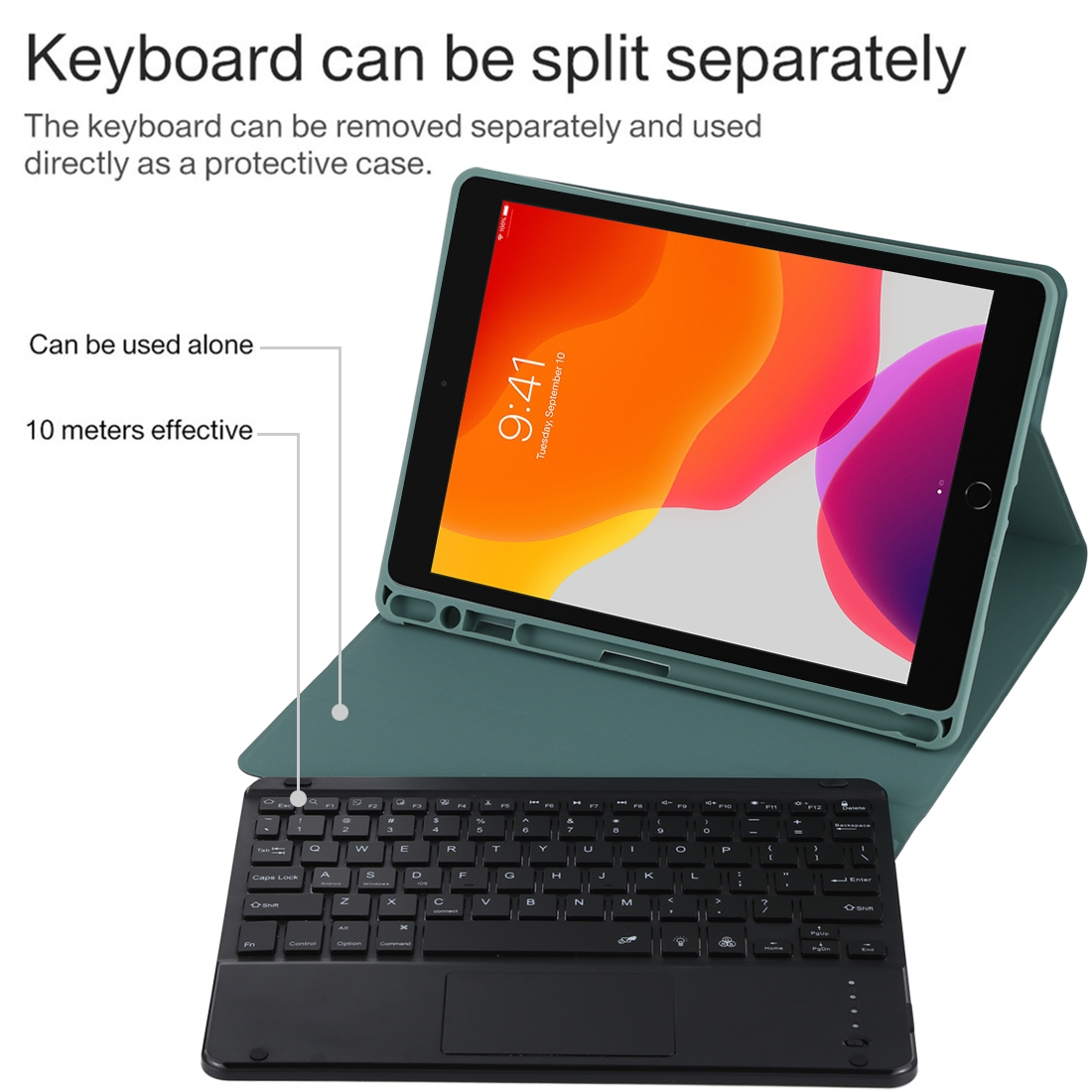 iPad Air Case With Keyboard For iPad 10.2/Air (2019) Leather Case With Backlit Keyboard (Dark Green)