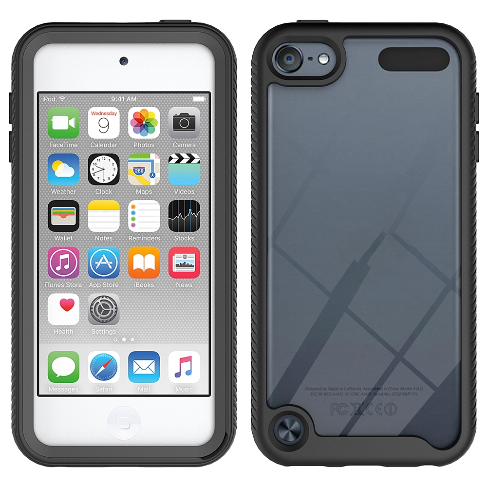 For iPod Touch 5/ 6/ 7 Two-layer Design Shockproof PC/Protective Durable Casing (Black)