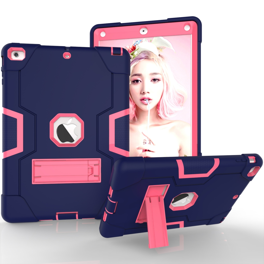 iPad Air Cover Featuring Contrasting Colors In A Tough Durable Protective Armor Case (Navy /Rose)