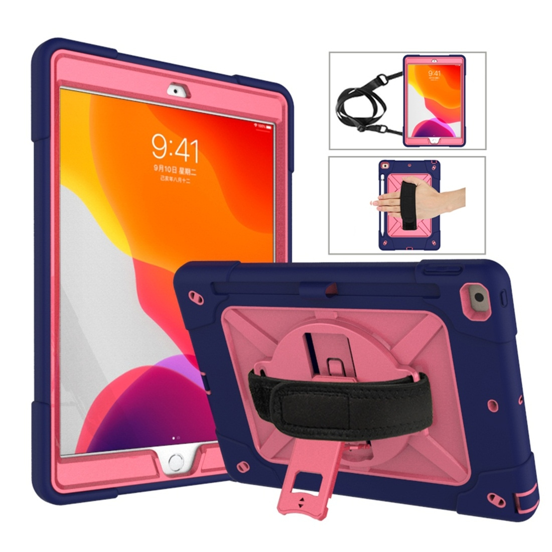 iPad 7th Generation Case (10.2 Inch) Contrasting Color Tough Durable Armor Case (Navy Blue/Rose Red)
