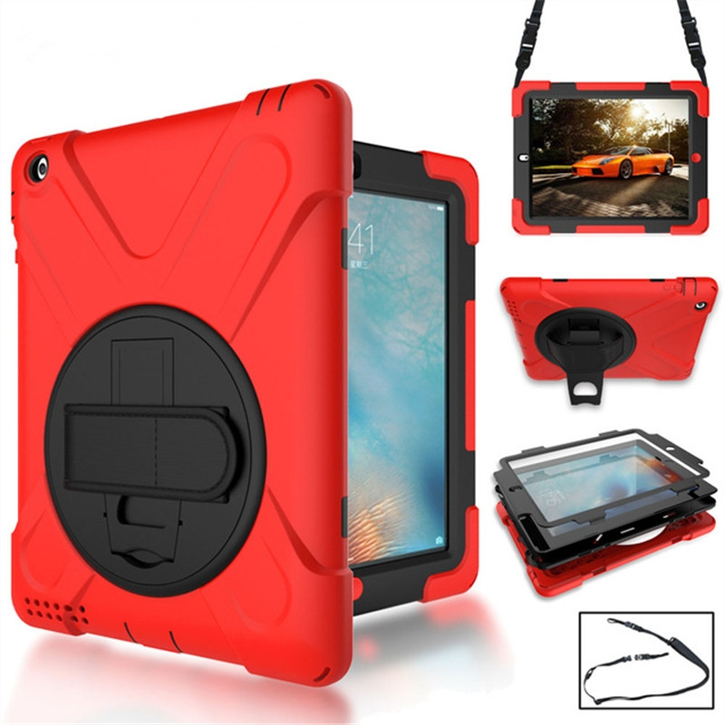 iPad 6 Case/iPad Air 2 Case With Rotating Silicone Protective Casing, Strap and Longer Strap (Red)