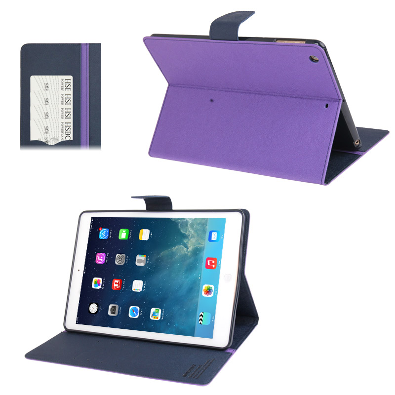 iPad Air Case Cross Texture Leather Case with Sleeve & Slim Profile (Purple)