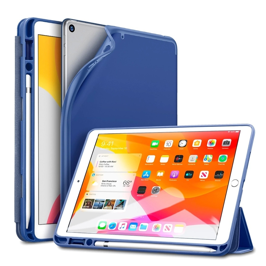 iPad 7th Generation Case (10.2 Inch) Featuring A Durable Leather Design & Auto Sleep (Blue)